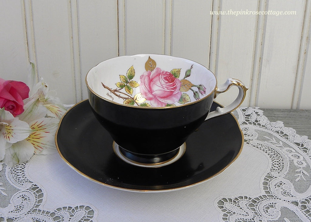 Vintage Adderley Black Teacup and Saucer with Pink Rose Signed Austin - The Pink Rose Cottage