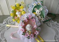 3 Vintage Hand Made Real Egg Easter Ornaments with Bunnies and Lamb - The Pink Rose Cottage