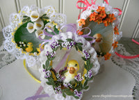3 Vintage Hand Made Real Egg Easter Ornaments with Ducks and Ducklings - The Pink Rose Cottage