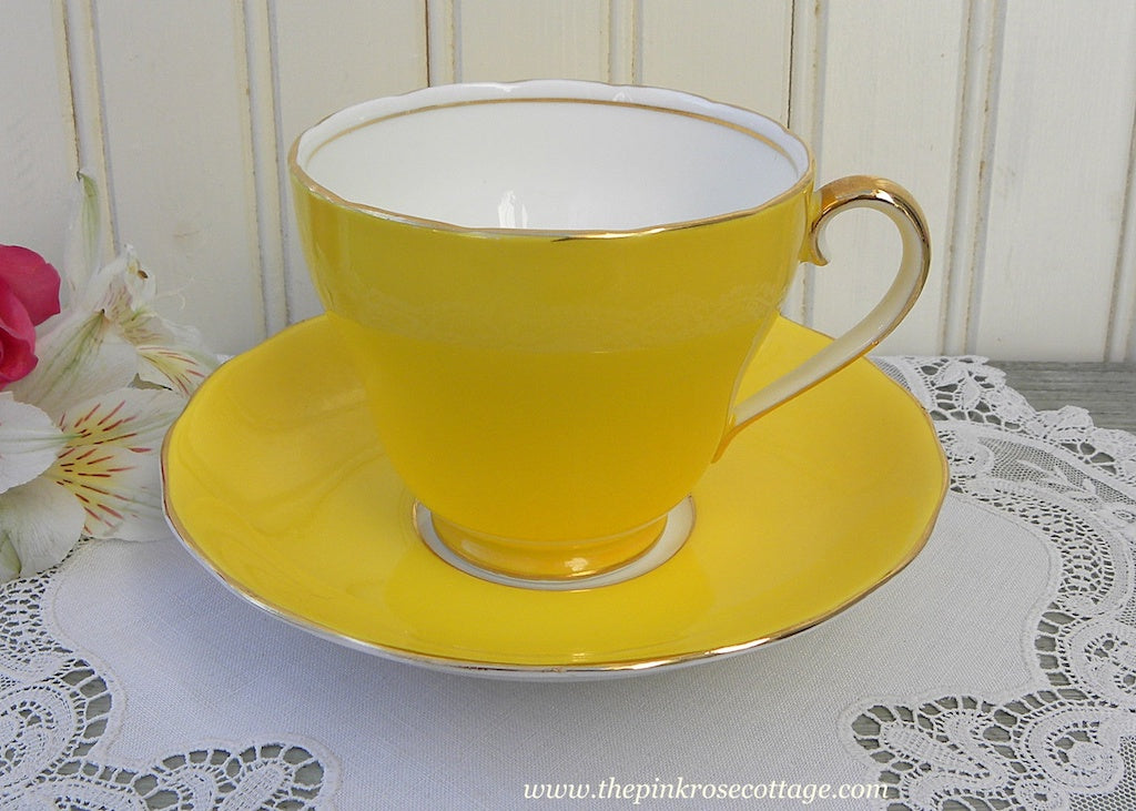 Vintage Sunshine Yellow Adderely Teacup and Saucer
