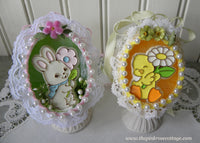 Pair of Vintage Hand Made Real Egg Easter Ornaments with Hallmark Bunny and Chick - The Pink Rose Cottage