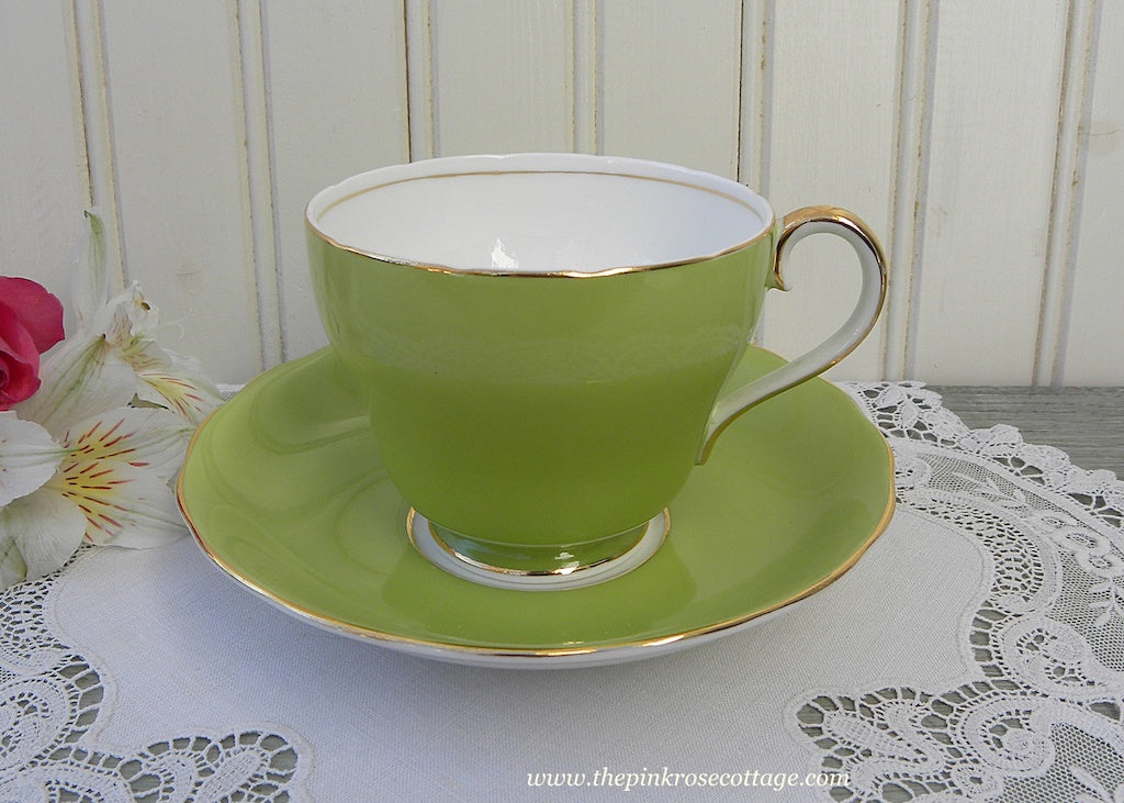 Vintage Lime Green Adderely Teacup And Saucer The Pink
