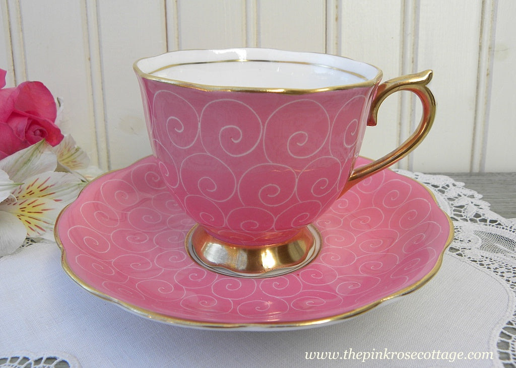 Vintage Royal Albert Pink Swirl Series Teacup and Saucer