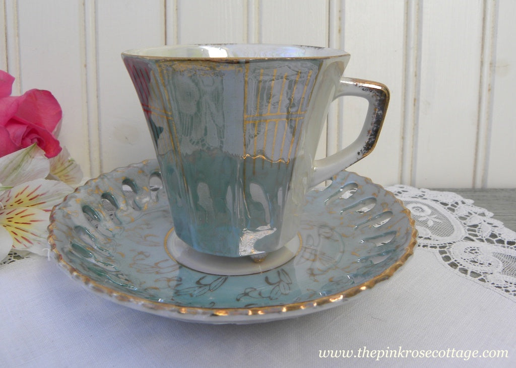 Vintage Iridescent Teal and Gold Footed Demitasse Teacup and Saucer