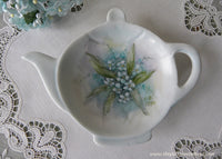 Vintage Hand Painted Teapot Shaped Teabag Holder Forget Me Nots