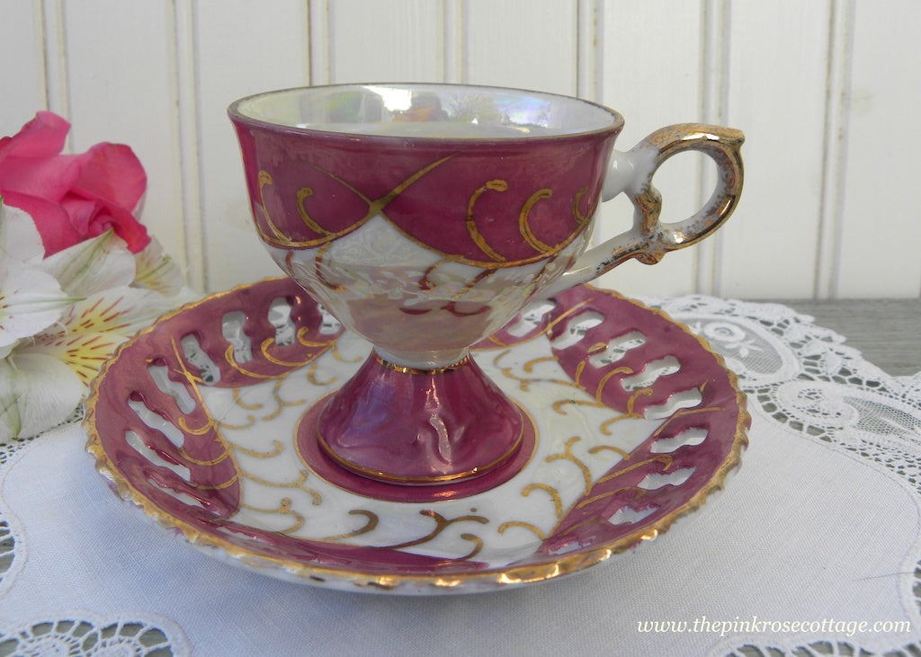 Vintage Iridescent  Maroon Pedestal Demitasse Teacup and Saucer