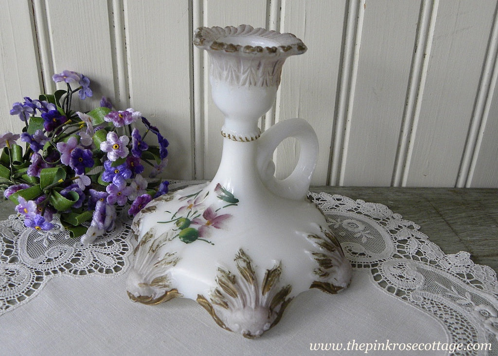 Antique Milk Glass Candle Holder Hand Painted Cottage Violets - The Pink Rose Cottage