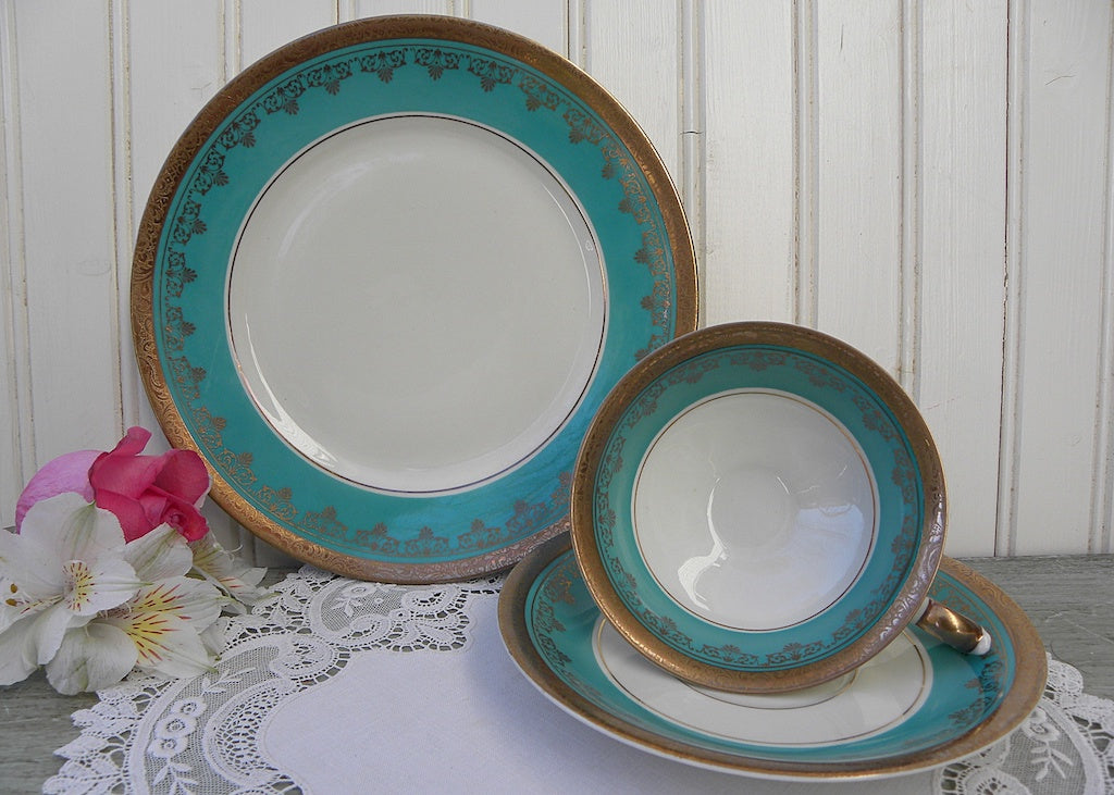 Vintage ALKA Kunst Kroncah Teal and Gold Teacup Saucer and Luncheon Plate Set - The Pink Rose Cottage