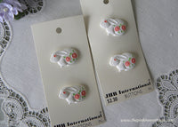 JHB International White Bunnies with Pink Daisies Shank Buttons - The Pink Rose Cottage