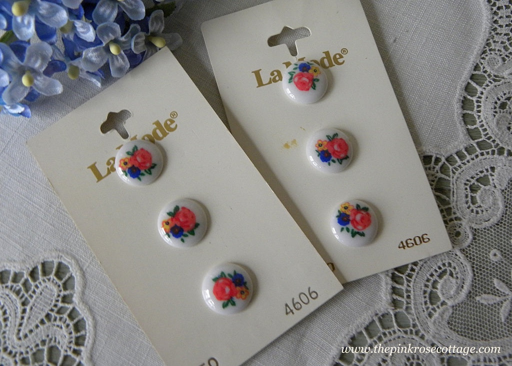 6 La Mode Pink Rose with Blue and Yellow Flowers Buttons - The Pink Rose Cottage