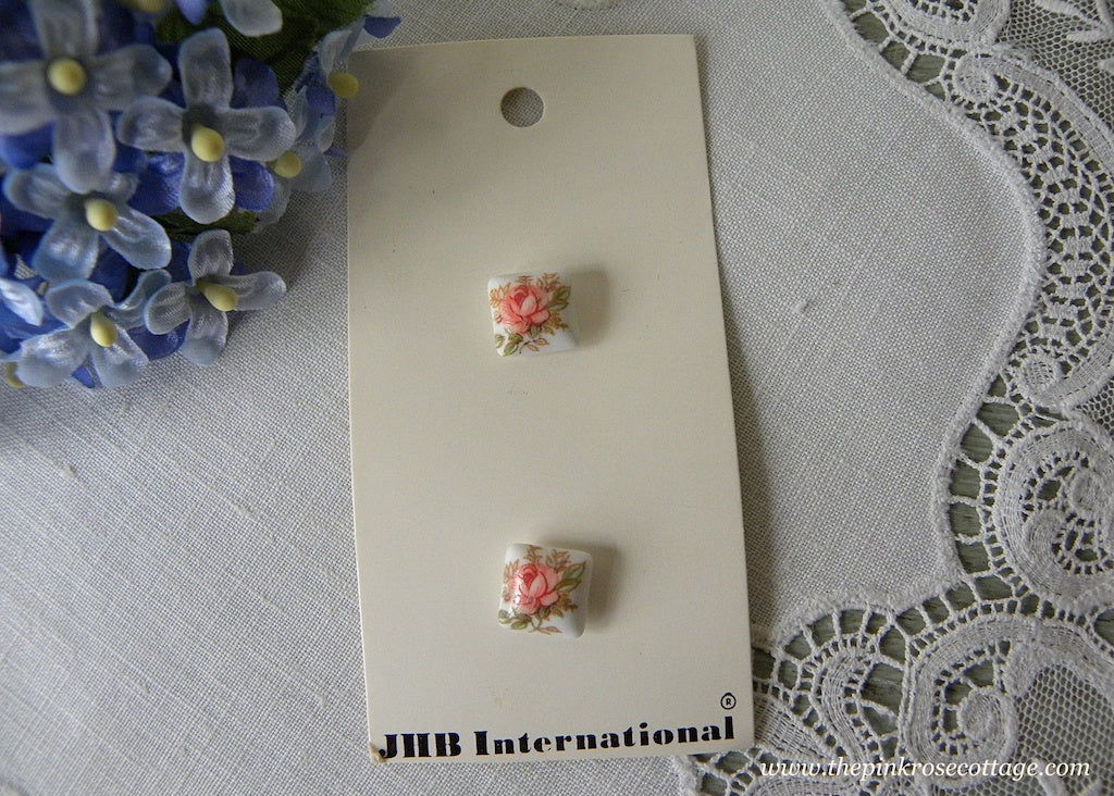 JHB International Pink Rose Square Buttons - The Pink Rose Cottage