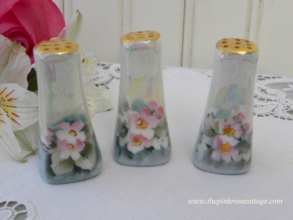 Three Hand Painted Individual Salt Shakers with Pink Roses - The Pink Rose Cottage