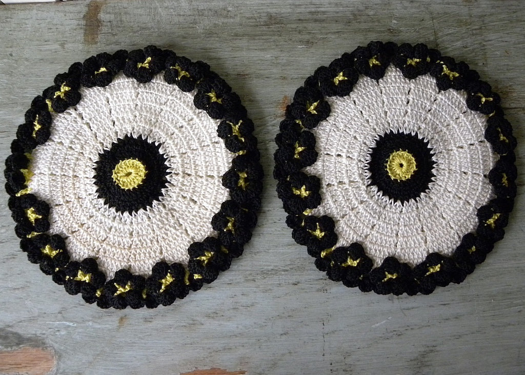 Pair of Hand Crocheted Black and Yellow Pansies Pansy Potholders Pot Holders - The Pink Rose Cottage