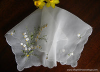 Vintage Sheer Embroidered Lily of the Valley Handkerchief
