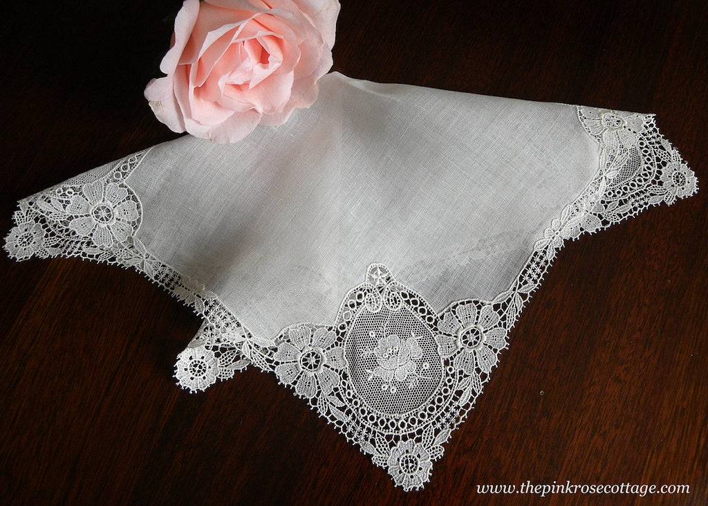 Antique Linen Schiffli Lace Rose Bridal Wedding Handkerchief - The Pink Rose Cottage