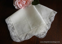 Tagged Vintage Irish Linen Handkerchief with Crocheted Lace Edge