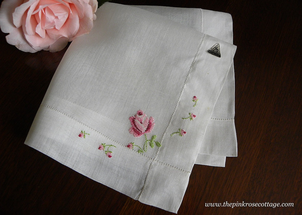 Vintage Tagged Herrman Handkerchiefs Petite Point Pink Rose Hanky