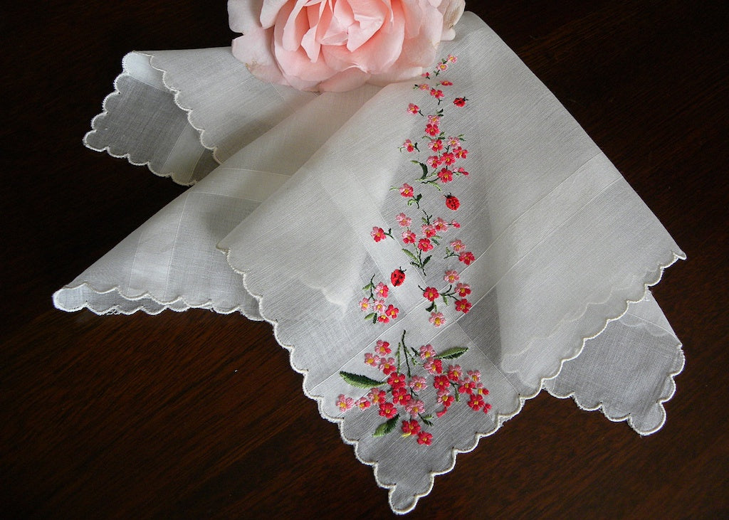 Vintage Embroidered Pink Forget Me Nots with Lady Bug Handkerchief