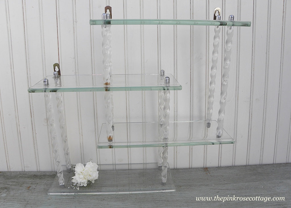 Vintage 4 Tiered Glass and Twisted Lucite Wall Shelf - The Pink Rose Cottage
