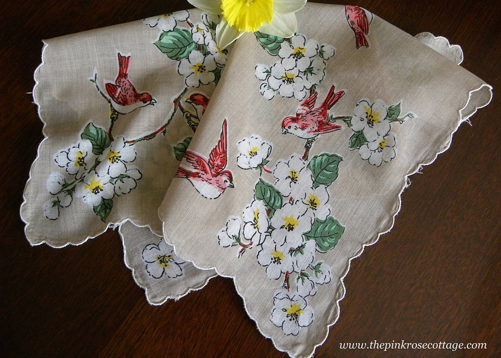Vintage Apple Cherry Blossoms and Birds Handkerchief