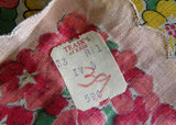 Vintage Tagged Glamour Girl Scalloped Pink and Yellow Primrose Garland Handkerchief