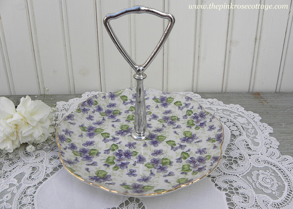 Vintage Lefton Chintz Purple Violet Handled Tidbit Dish