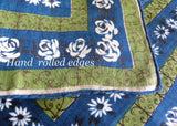 Vintage Irish Linen Handkerchief Blue Roses and Daisies with Green