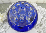 Vintage Cobalt Blue Round Footed Vase with Flower Frog and Candle Insert