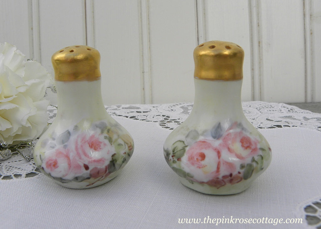 Pair of Individual Salt and Pepper Shakers Hand Painted Pink Roses and Gold