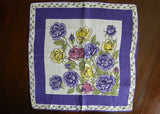 Unused Tagged Vintage Purple Rose Linen Handkerchief