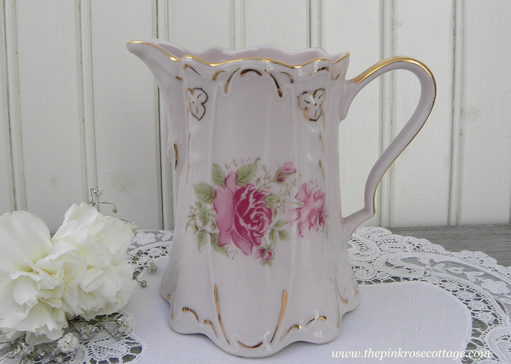 Vintage Pink Pitcher or Creamer with Dreamy Pink Roses