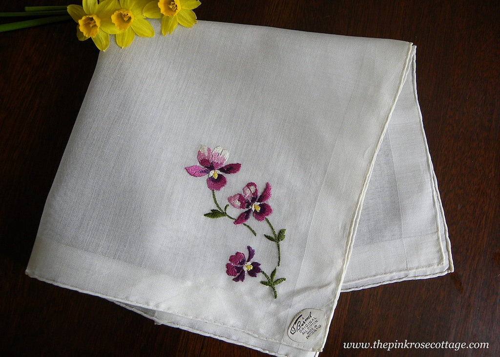 Vintage Tagged Burmel Embroidered Cottage Violets Handkerchief