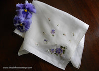 Vintaged Tagged Lady Heritage Embroidered Pansy Pansies Handkerchief