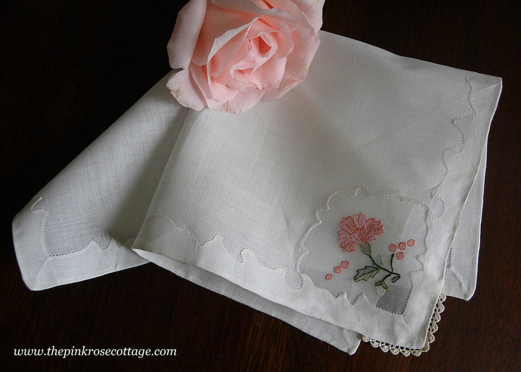Tagged Vintage Madeira Linen Pink Carnation Handkerchief