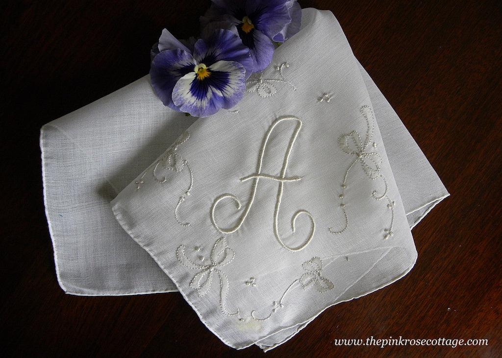 Vintage Unused Linen Monogrammed A Handkerchief with Bows