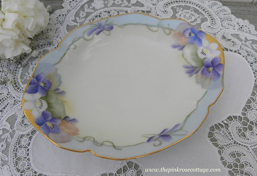 Vintage Hand Painted Country Violets Candy Tidbit Dish
