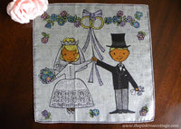 Vintage Dessin Depose Bride and Groom Wedding Handkerchief