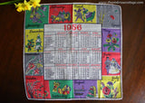 Vintage 1956 Calendar Handkerchief Wedding Christmas and More Yearly Events