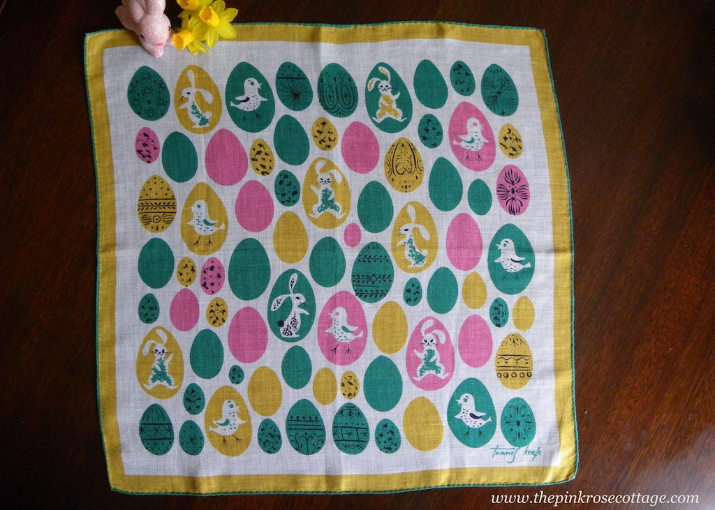 Vintage Tammis Keefe Easter Egg Bunny and Chicks Handkerchief