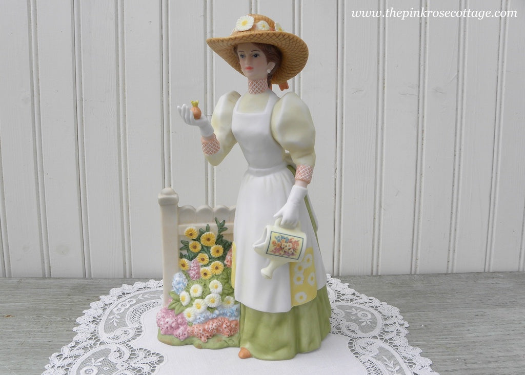 Victorian Woman Figurine Gardening and Watering Can