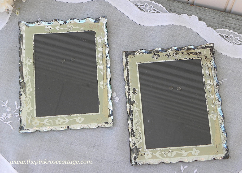 Pair of Vintage Pie Curst Reversed Painted Floral Mirrored Picture Frames - The Pink Rose Cottage
