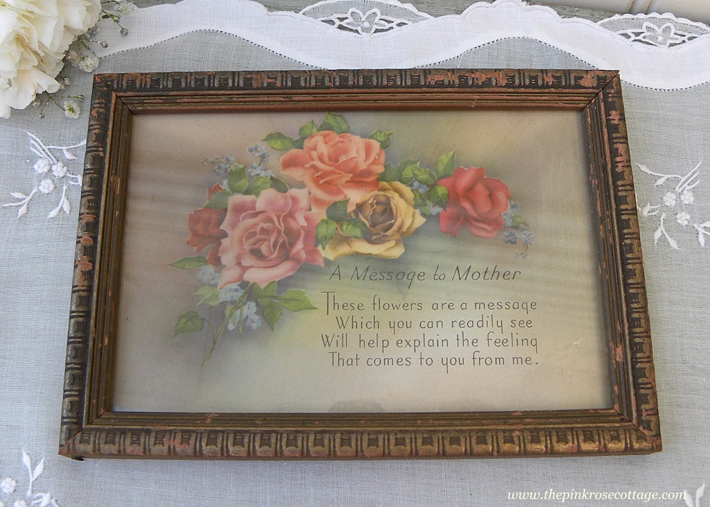 Vintage Framed Pink Roses A Message to Mother Print