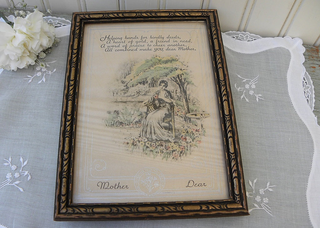 Vintage Framed Print Woman in Flower Garden Mother Dear