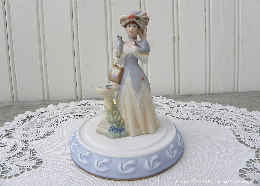 Miniature Victorian Lady Figurine with Bluebirds and Birdbath