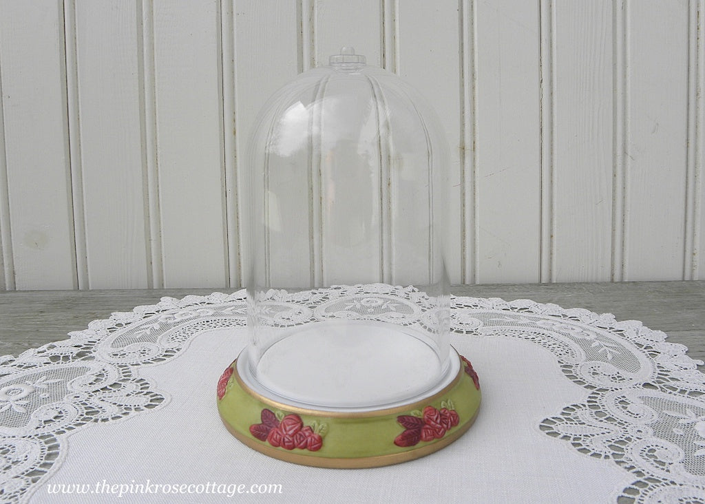 Small Bell Cloche Dome Porcelain Base with Pink Roses