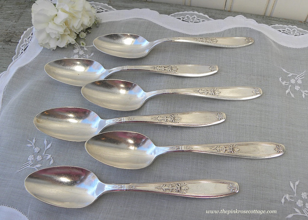 Set of 6 Antique Silver Plated 1847 Rogers Bros Ambassador Teaspoons - The Pink Rose Cottage