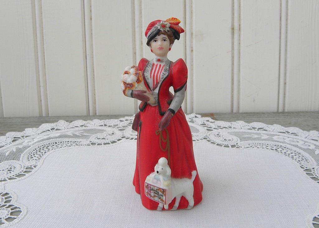 Miniature Victorian Lady Figurine Red Dress and Poodle