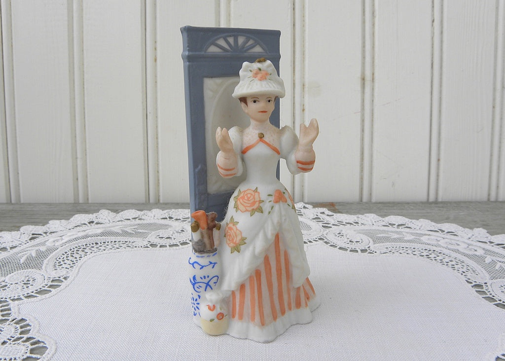 Miniature Victorian Lady Figurine Peach Striped Dress