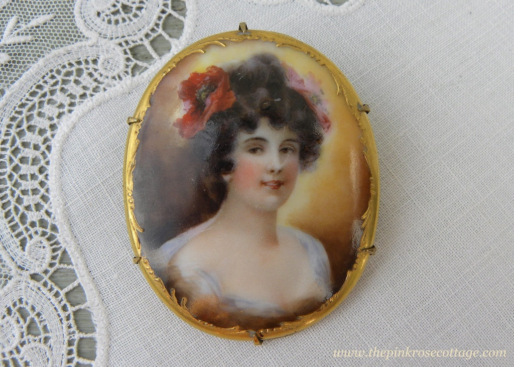 Antique Victorian Edwardian Hand Painted Woman with Poppy Pin Brooch - The Pink Rose Cottage