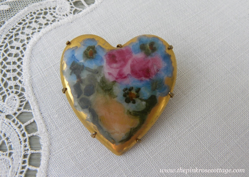 Antique Victorian Edwardian Hand Painted Pink Rose and Pansies Heart Brooch Pin - The Pink Rose Cottage